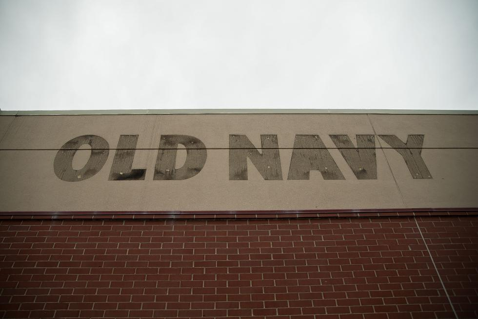 The outline of the former sign for the former Old Navy store stained against the side of the Steeplegate Mall in Concord on Friday, March 27, 2015.  (CAMERON JOHNSON / Monitor staff) - CAMERON JOHNSON | Concord Monitor