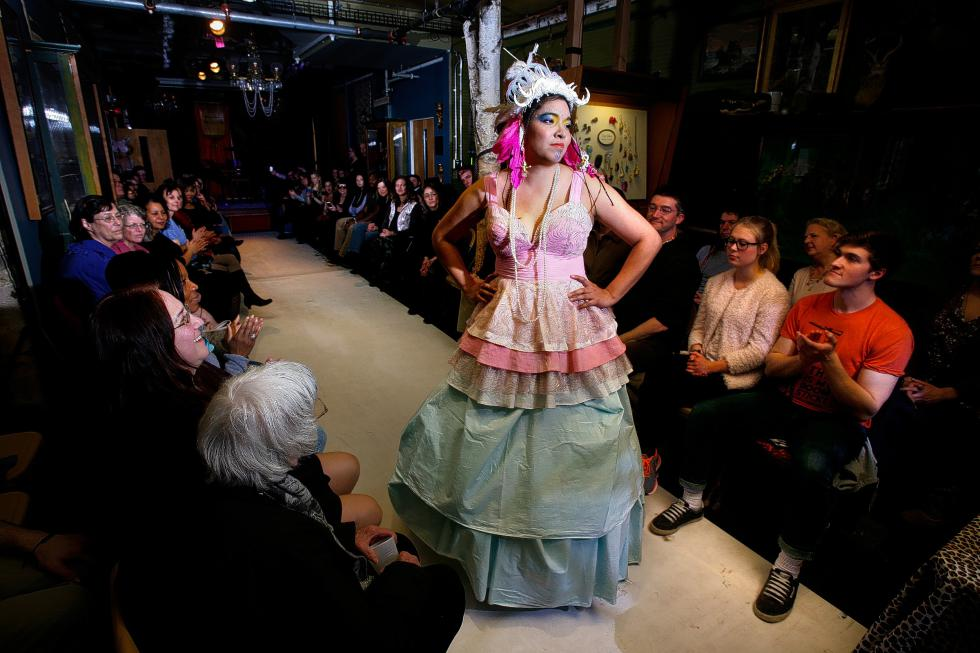 Model Jessica Mesa, of White River Junction, Vt., shows a piece by designer Keeny Paige at the fashion show held at the Main Street Museum in White River Junction, Vt., on April 6, 2015. The show featured the work of four local fashion designers, including Paige, who is Colleen McCleary of Canaan, N.H. (Valley News - Geoff Hansen)<p><i>Copyright © Valley News. May not be reprinted or used online without permission. Send requests to permission@vnews.com.</i></p> - Geoff Hansen | Valley News