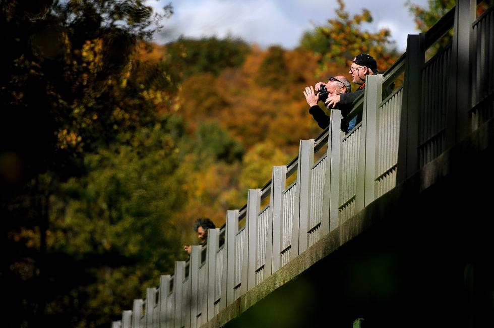 Tourists take photographs at the Quechee Gorge in Quechee, Vt., on Oct. 9, 2014.  Valley News - Jennifer Hauck - Jennifer Hauck | Valley News