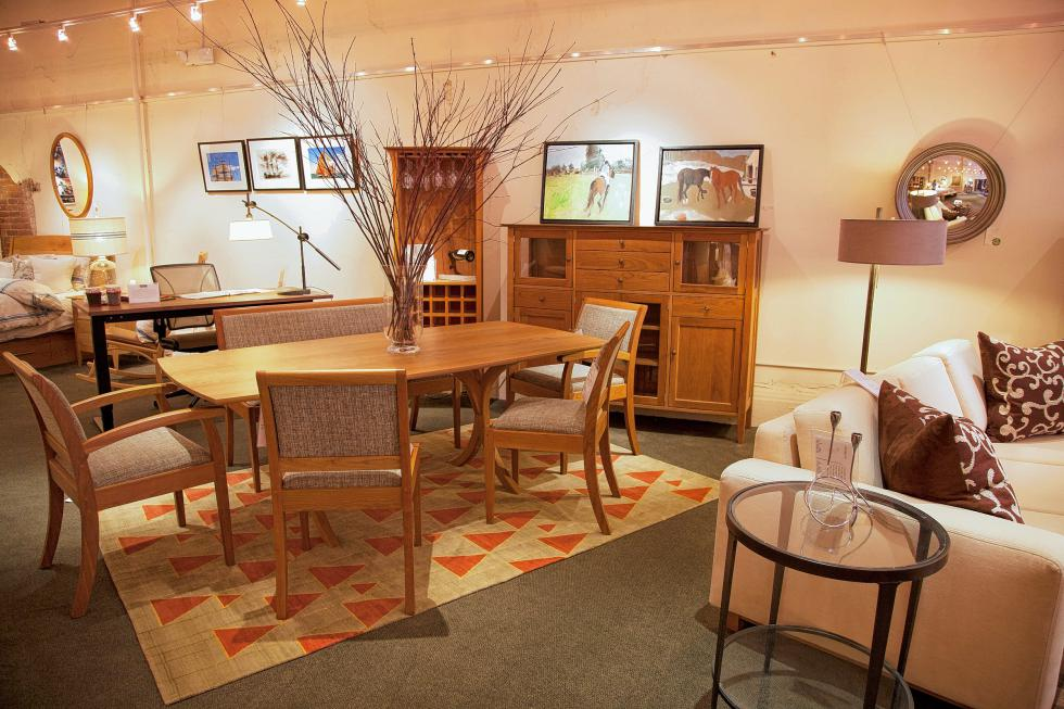 A Rug By InnerAsia Accompanies Pompanoosuc Mills Furniture In The  Pompanoosuc Mills Showroom In Boston.