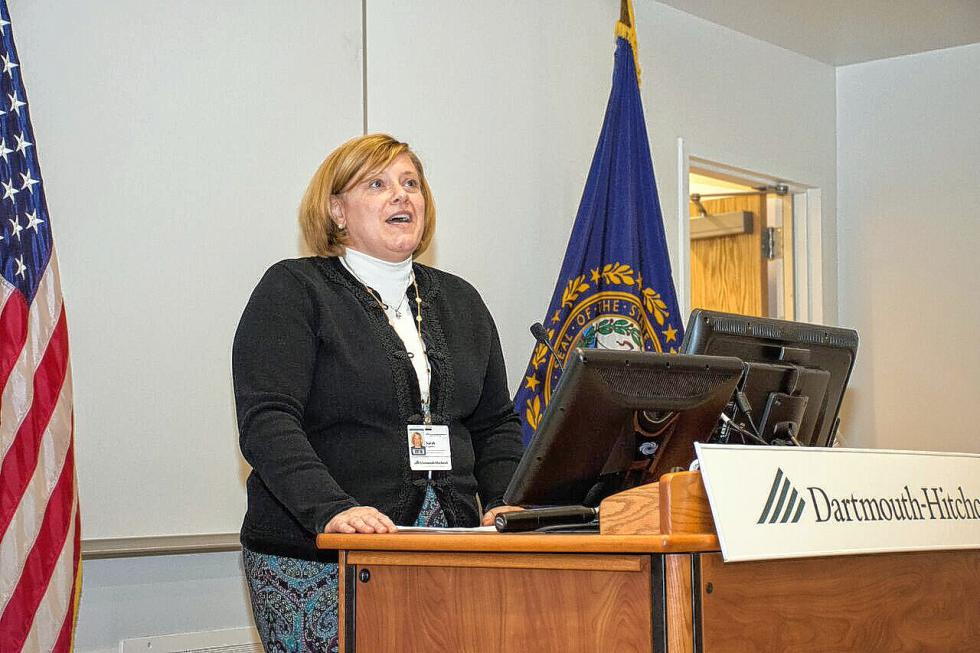 Sarah Currier, director of workforce development, speaks to the audience at the Nov. 5, 2015, ceremony. Nancy Nutile-McMenemy photograph -