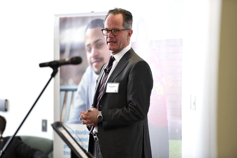 Jesper Hoiland, Novo Nordisk's U.S. president, speaks at a company event on Feb. 10, 2016, in West Lebanon, N.H. (Valley News - Jennifer Hauck) <p><i>Copyright © Valley News. May not be reprinted or used online without permission. Send requests to permission@vnews.com.</i></p> - Jennifer Hauck | Valley News