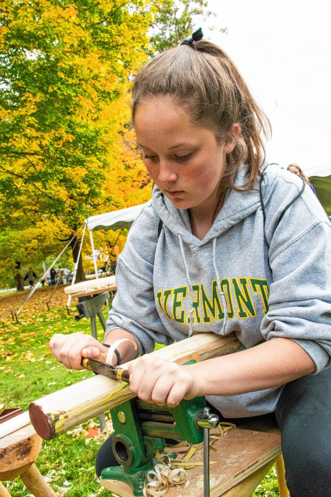 Nancy Nutile-McMenemyAinsley Cooke from Randolph High School tried her hand at wood carving.