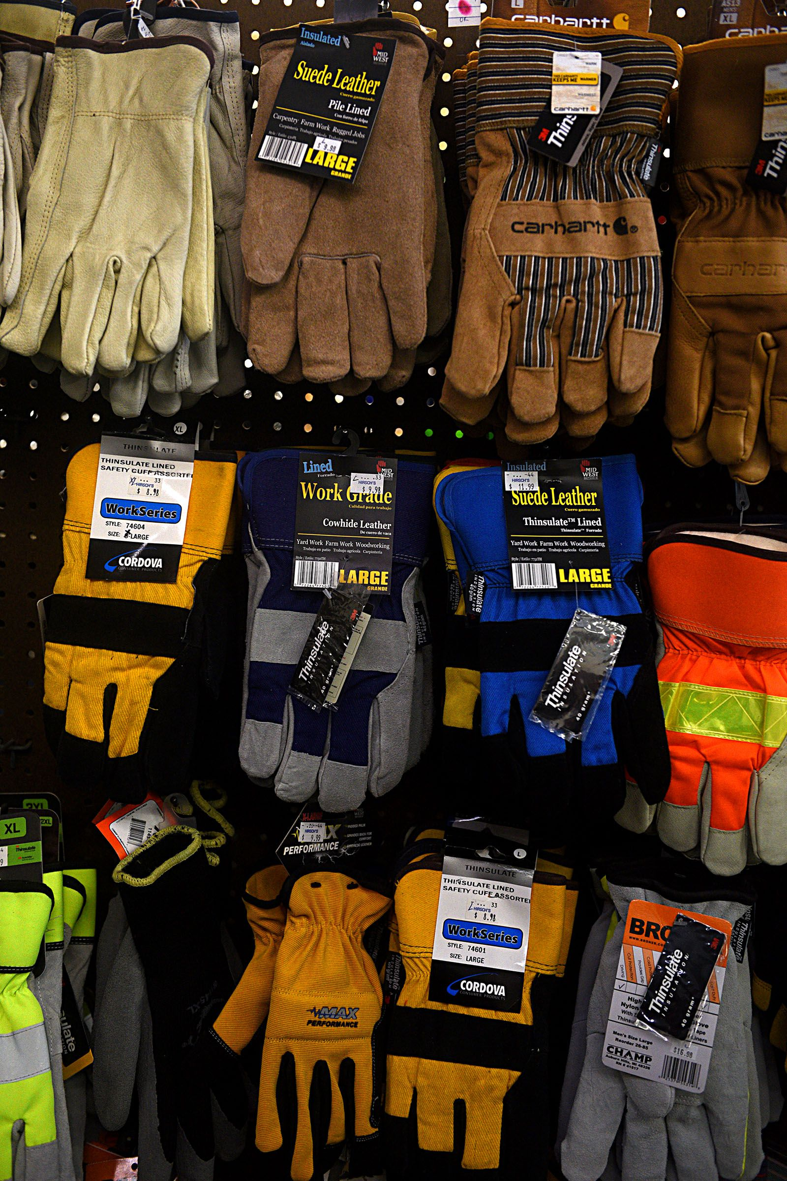 Work gloves for sale at Hirsch's Clothing in Lebanon, N H