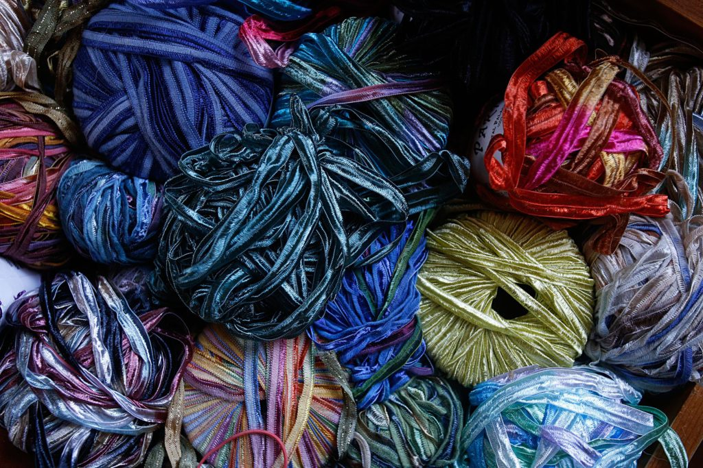 Carrie Cahill Mulligan's collection of nylon, rayon and silk yarn used for decorative embroidery at her home studio in Canaan, N.H., on November 18, 2016, for the handknit hats she sells. (Valley News - Geoff Hansen) Copyright Valley News. May not be reprinted or used online without permission. Send requests to permission@vnews.com.