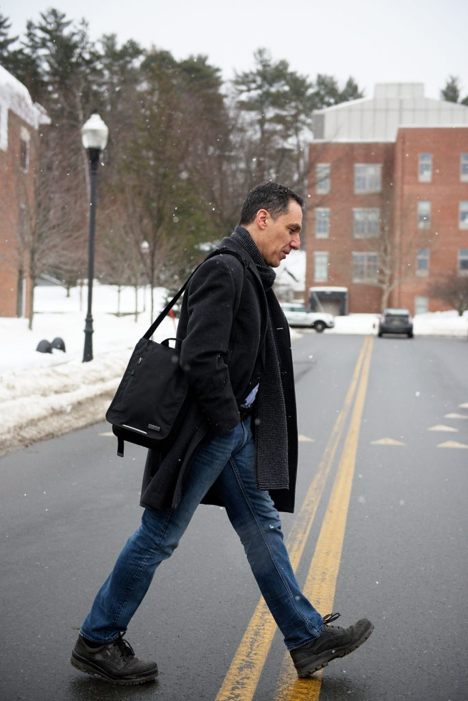 Hany Farid, of Norwich, walks to his office on the Dartmouth College campus in Hanover, N.H., on Wednesday, February 15, 2017. Farid is the chair of the computer science department at Dartmouth College and a leader in digital forensics, using his work to combat child pornography and extremist propaganda. (Valley News - James M. Patterson) Copyright Valley News. May not be reprinted or used online without permission. Send requests to permission@vnews.com.