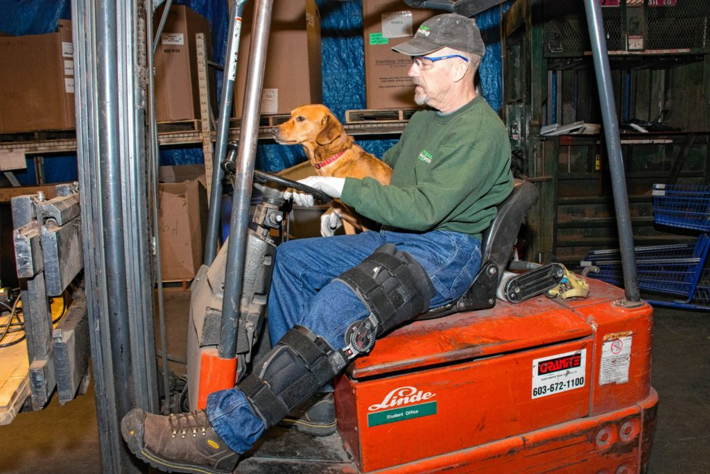 Penny, Ken and Joyce's dog, helps Ken with the forklift moving things around in the warehouse. Nancy Nutile-McMenemy photograph