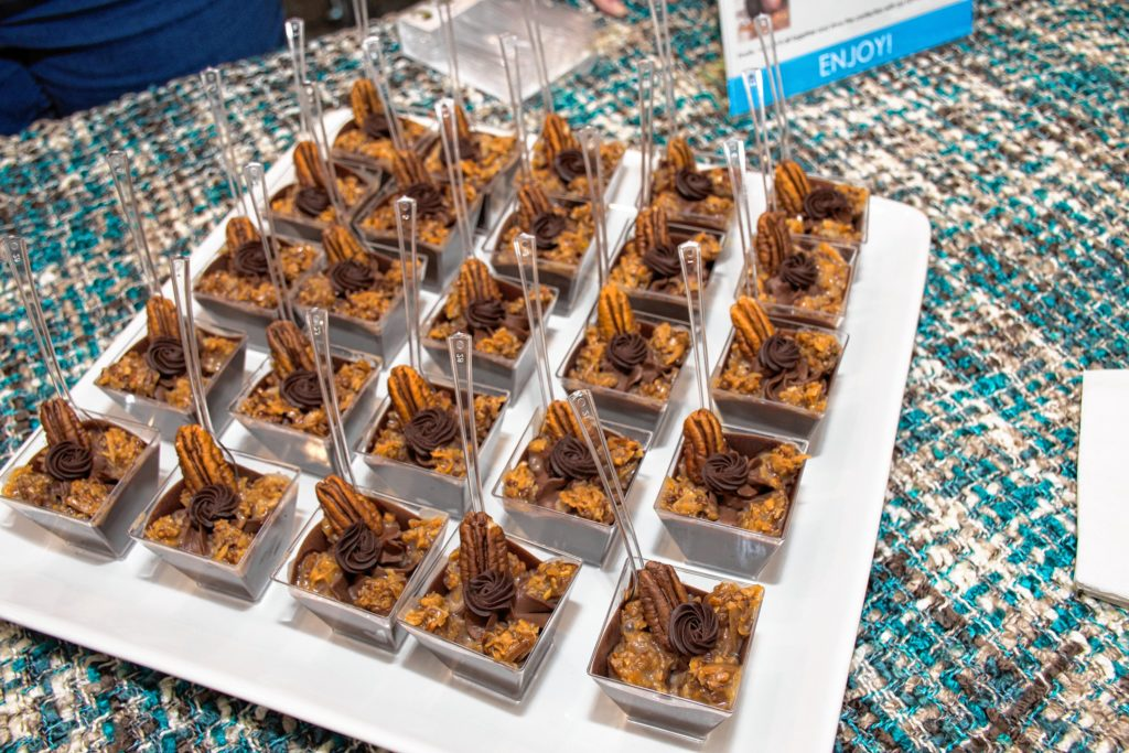 A plate of Pleasent Lake Cheesecake Company German Chocolate Cheesecake samples. Nancy Nutile-McMenemy photograph