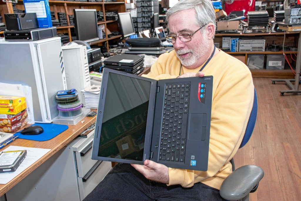 This ideapad was brought in by a customer and Roger found that it couldn't be upgraded or repaired because the parts were soldered together. Nancy Nutile-McMenemy photograph