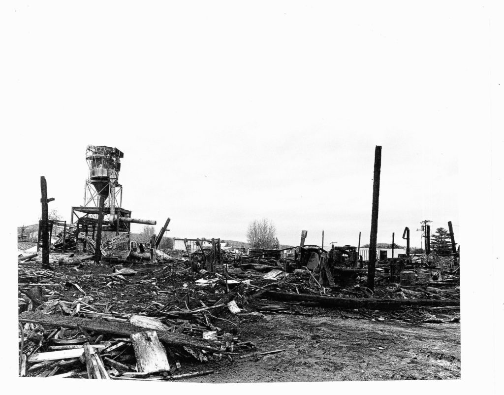 The aftermath of the Nov. 17, 1984, fire at Copeland Furniture on Industrial Drive in Bradford, Vt. Valley News file photograph — Tom Wolfe