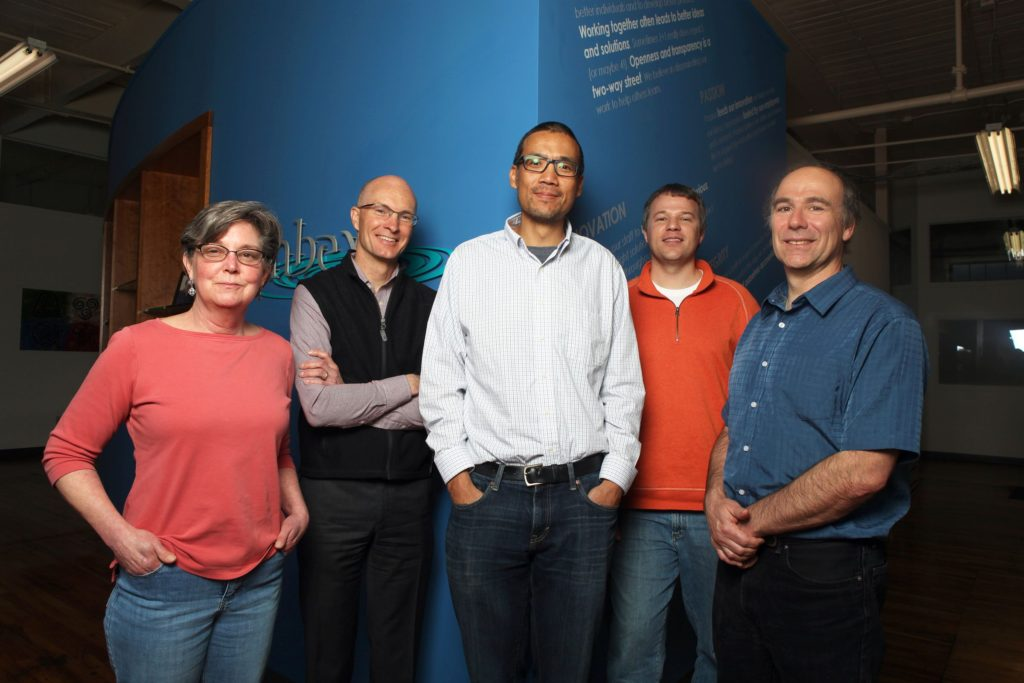 The Simbex leadership team -- business manager Theresa Hays, left, chief business development officer Greg Lange, chief technology officer Jeffrey Chu, vice president of research and development Jonathan Beckwith, and CEO and co-founder Richard Greenwald -- on Thursday, May 11, 2017, in Lebanon, N.H. (Valley News - Jovelle Tamayo) Copyright Valley News. May not be reprinted or used online without permission. Send requests to permission@vnews.com.