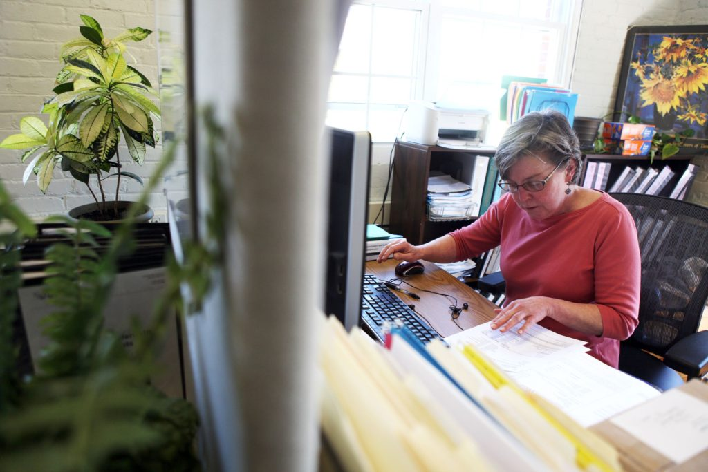 Theresa Hays, business manager at Simbex, works on Thursday, May 11, 2017, in Lebanon, N.H. (Valley News - Jovelle Tamayo) Copyright Valley News. May not be reprinted or used online without permission. Send requests to permission@vnews.com.