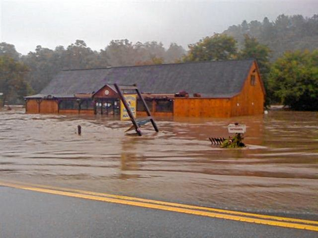 The Woodstock Farmers' Market is flooded after Tropical Storm Irene in 2011.(Woodstock Farmers' Market photograph)