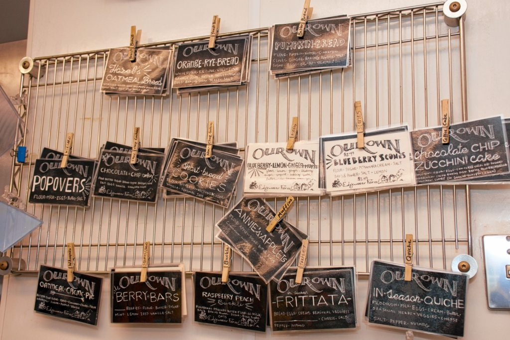 Some of labels for the bakery items for sale at any given time at Edgewater Farms. Nancy Nutile-McMenemy photograph.