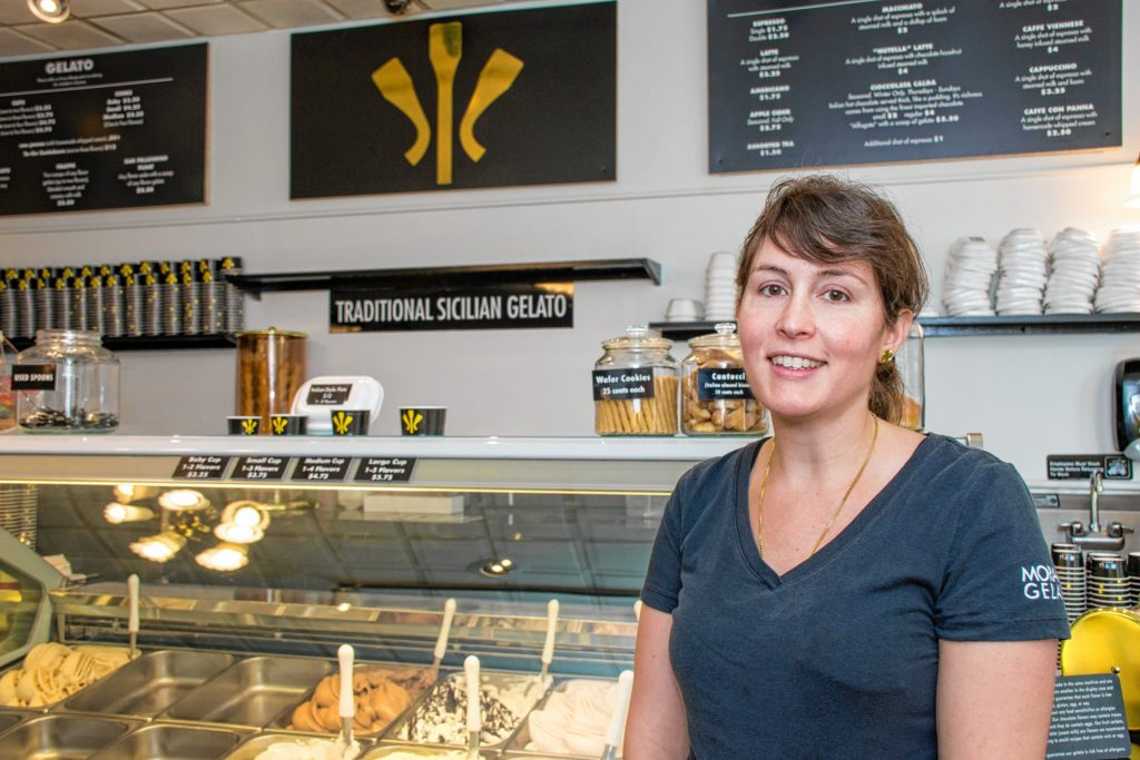 Morano Gelato CEO Morgan Morano runs the Chestnut Hill, Mass., Morano Gelato. There are also two franchised stores, one in Westfield, N.J., and this one in Hanover, N.H. In January, Victoria Davis and Richard Simiek partnered with Morano to purchase the flagship franchise in Hanover. (Nancy Nutile-McMenemy photograph)