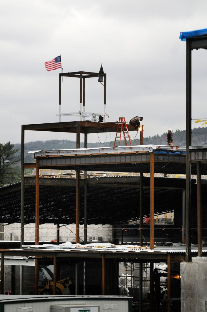 Construction of the Lebanon Middle School on Moulton Ave. in Lebanon, N.H., on April 28, 2011. (Valley News - Jason Johns) Copyright Valley News. May not be reprinted or used online without permission. Send requests to permission@vnews.com.