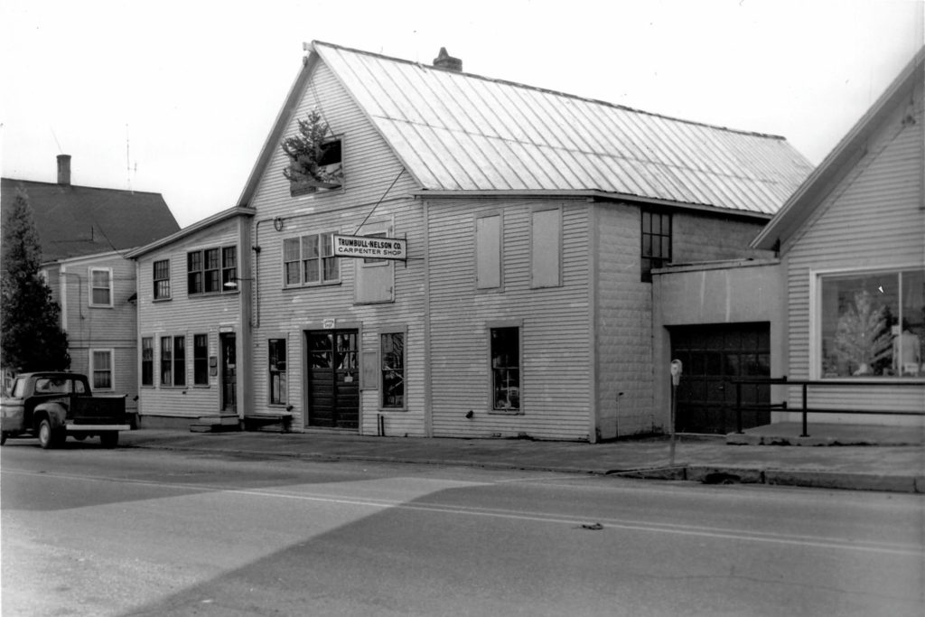 The Trumbull-Nelson Construction Co. headquarters at 7-9 Lebanon Street in Hanover in 1956. The buildings were razed in 1970. (Photograph courtesy of Frank J. Barrett Jr.)