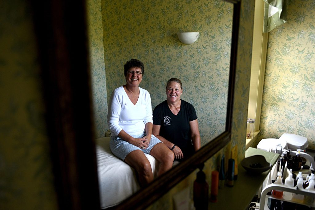 Sheila Armen, left, and Shelly Yusko opened Strong House Spa in Quechee, Vt., 25 years ago. (Valley News - Jennifer Hauck) Copyright Valley News. May not be reprinted or used online without permission. Send requests to permission@vnews.com.