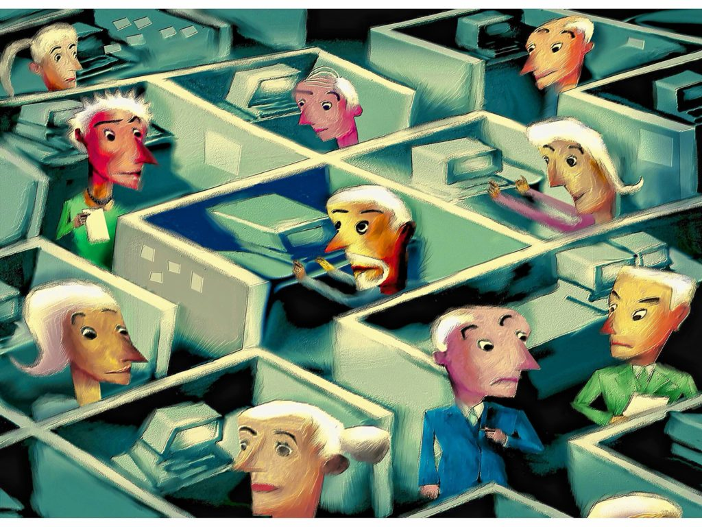 300 dpi 5 col x 7.25 in / 246x184 mm / 837x626 pixels Michael Hogue color illustration of office cubicles staffed with older workers. The Dallas Morning News 2005