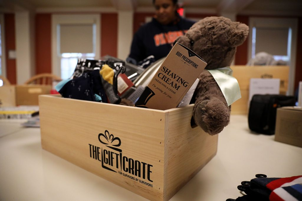 An unfinished Gift Crate, a care package business started by Dia Draper for cancer survivors, sits on a table on Monday, Oct. 23, 2017, in the common area of the Triangle House on the Dartmouth College campus in Hanover, N.H. A colon cancer survivior, Draper said she had the idea to start the business after she recieved gifts and thoughts of encouragement while in treatment. (Valley News - Charles Hatcher) Copyright Valley News. May not be reprinted or used online without permission. Send requests to permission@vnews.com