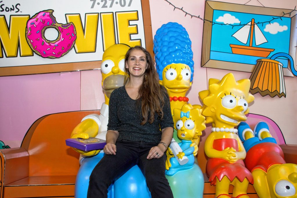 Back in 2007, Springfield Vermont beat out 13 other Springfields around the United States in online voting to host the premiere of the Simpsons movie. Some of the event props are in Caitlin Christiana's office. Nancy Nutile-McMenemy photograph.