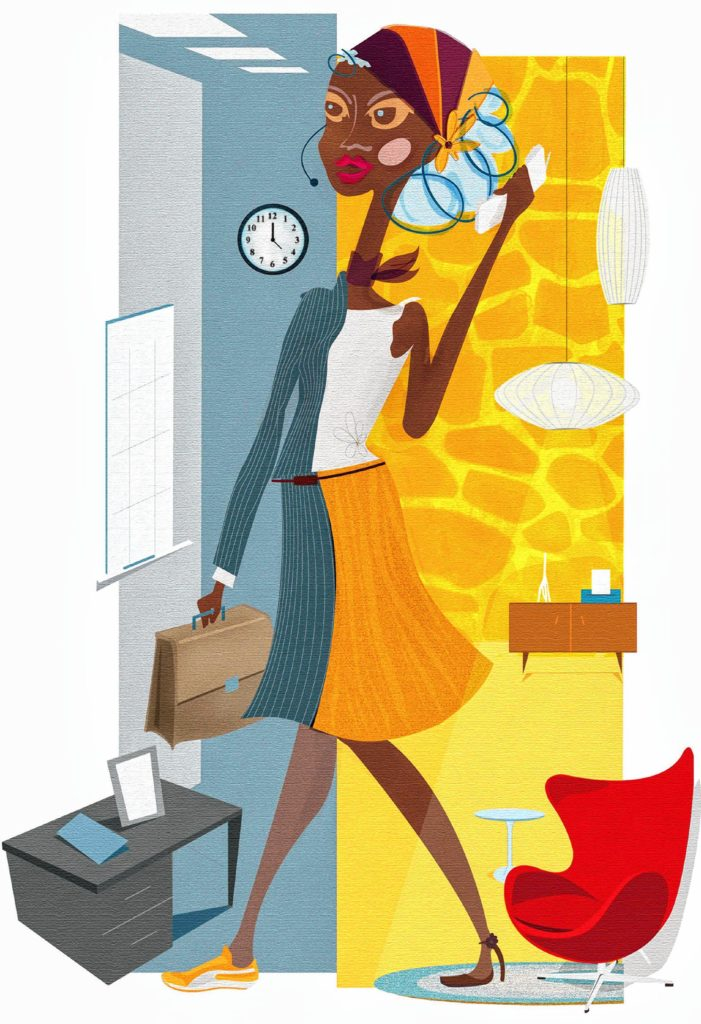 300 dpi 4 col x 11.25 in / 196x286 mm / 667x972 pixels Cinthia Romero color illustration of multi-tasking woman split between home and work. The Dallas Morning News 2004 KEYWORDS: krtbusiness business krtnational national krtworld world krtintlbusiness krtnamer north america krtusbusiness krtworkplace workplace u.s. us united states krt da contributed empleo grabado hogar home office illustration ilustracion mujer multitasking multitask multi task oficina romero coddington trabajo african american african-american black krtdiversity diversity woman women 2004 krt2004