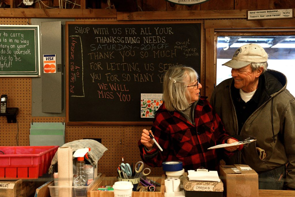 Liz and Jake Guest of Killdeer Farm prepare to move out of their farm stand on Route 5 on Dec. 1, 2016 in Norwich, Vt.  (Valley News - Jennifer Hauck) Copyright Valley News. May not be reprinted or used online without permission. Send requests to permission@vnews.com.