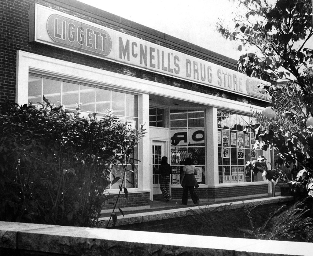McNeill's Drug Store on the Lebanon Mall in late 1975. Omer & Bob's is in the location in 2018. (Valley News photograph) Copyright Valley News. May not be reprinted or used online without permission. Send requests to permission@vnews.com.