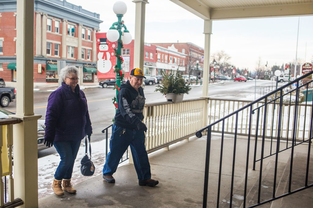 Diane Traegde, left, and Fred Weber, both of Claremont, N.H., walk in to Hubert's Department Store to shop during the closing sale in Newport on Feb. 1, 2018. Traegde said she shops at Hubert's because of the quality of the clothing which is hard to find stores in the Newport area. (Valley News - Carly Geraci) Copyright Valley News. May not be reprinted or used online without permission. Send requests to permission@vnews.com.