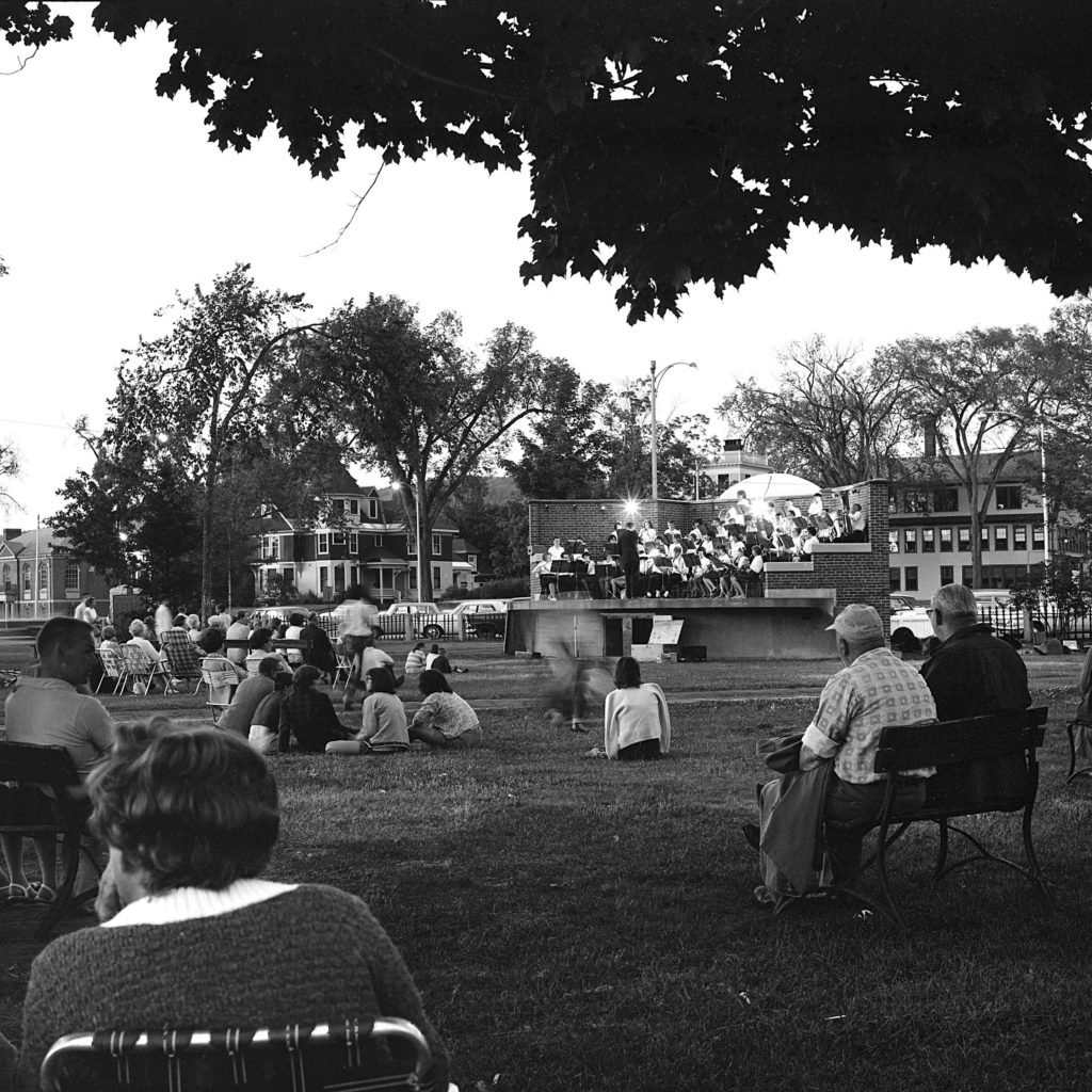 Concert goers enjoy a warm summer evening and a performance on the Colburn Park bandstand in downtown Lebanon, N.H., in July 1965. (Valley News - Larry McDonald) Copyright Valley News. May not be reprinted or used online without permission. Send requests to permission@vnews.com.