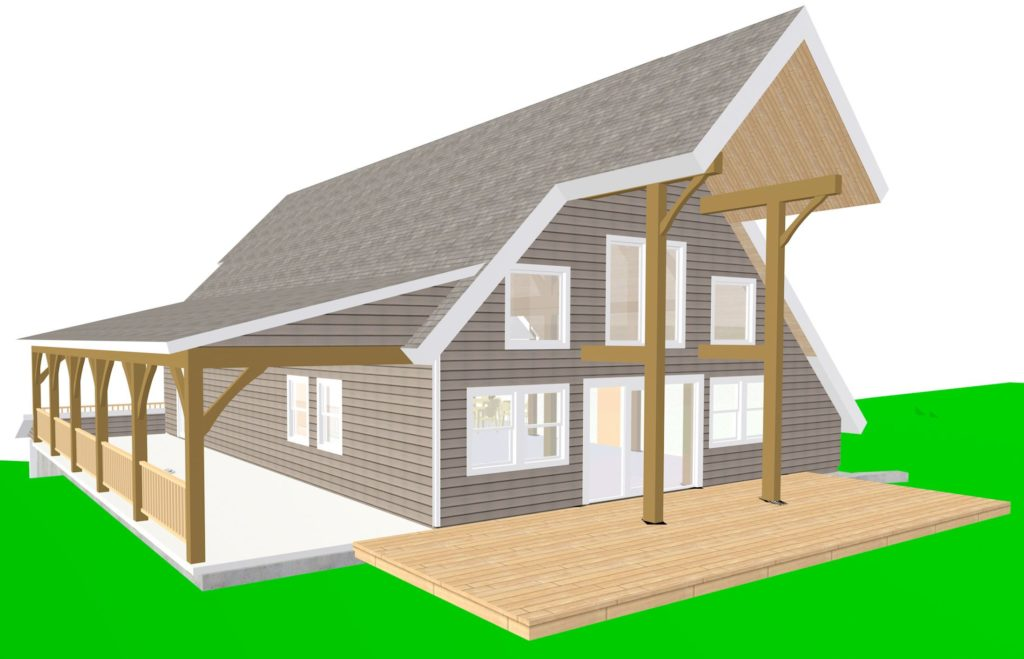 A rendering of the new Ascutney Outdoors building, facing the mountain with a deck and porch. Construction of the 3,600 square-foot building is due to begin late summer 2017. (Jim Lyall illustration)