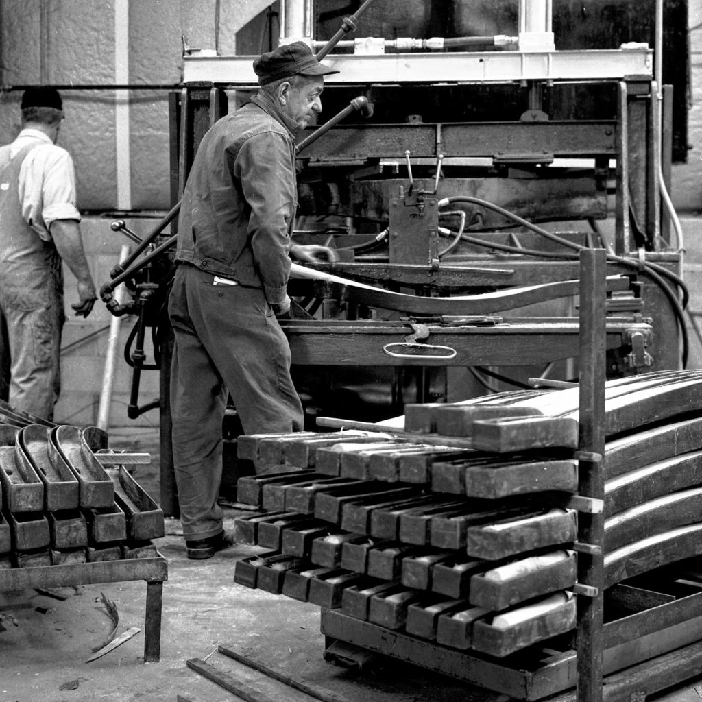 Workers at the new Northeast Wood Products Corp. plant in Plainfield, N.H., are getting the hang of the machinery and steps involved to produce premium snaths on March 14, 1968. A snath, for those who don't know, can be called a scythe handle. Workers are being trained at the plant to handle the various production steps. (Valley News - Larry McDonald) Copyright Valley News. May not be reprinted or used online without permission. Send requests to permission@vnews.com.