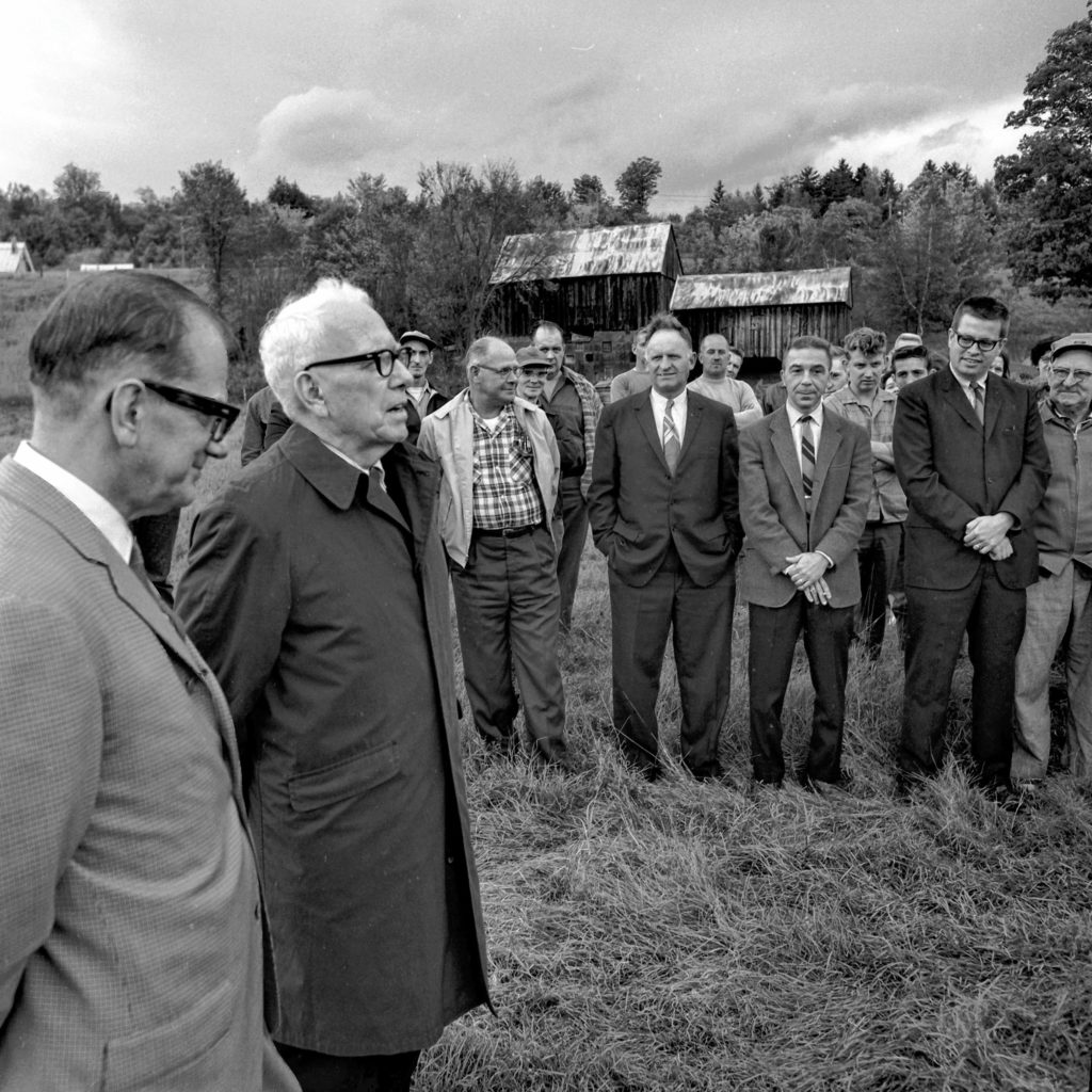 Groundbreaking ceremonies for the new Vermont Pacific Corp. plant were held in Bethel, Vt., on Sept. 30, 1968, with Sen. George D. Aiken, R-Vt., as the guest of honor. President Sigfried K. Lonegren, at left, stated to the group of dignitaries and plant employees the important role Aiken played in making the new facility possible. Vermont Pacific Corp. specializes in hardwood veneers and plywood. (Valley News - Larry McDonald) Copyright Valley News. May not be reprinted or used online without permission. Send requests to permission@vnews.com.