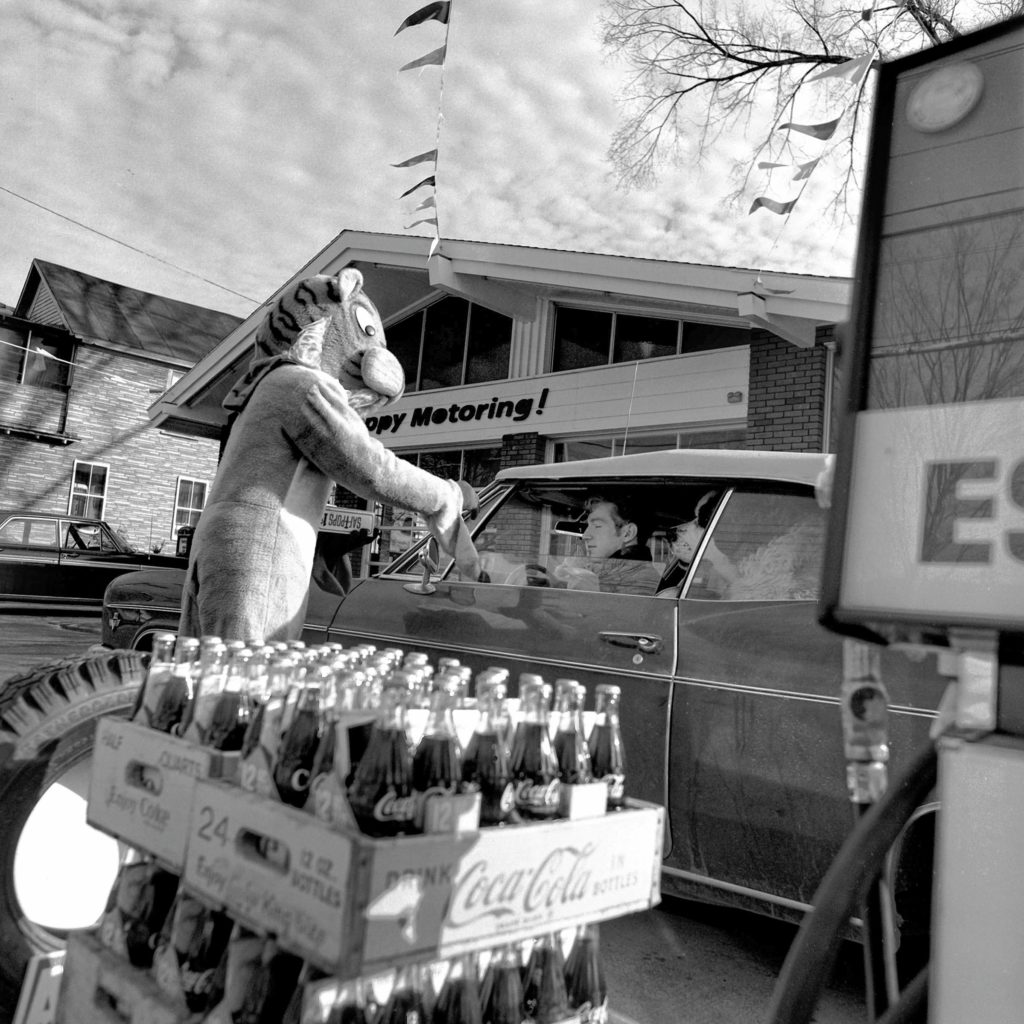 Wilson's Esso Service held its grand opening at the new station in Windsor, Vt., on Dec. 12, 1968. On hand to distribute gifts to early customers was Mr. Tiger, the oil refining company's mascot. (Valley News - Larry McDonald) Copyright Valley News. May not be reprinted or used online without permission. Send requests to permission@vnews.com.