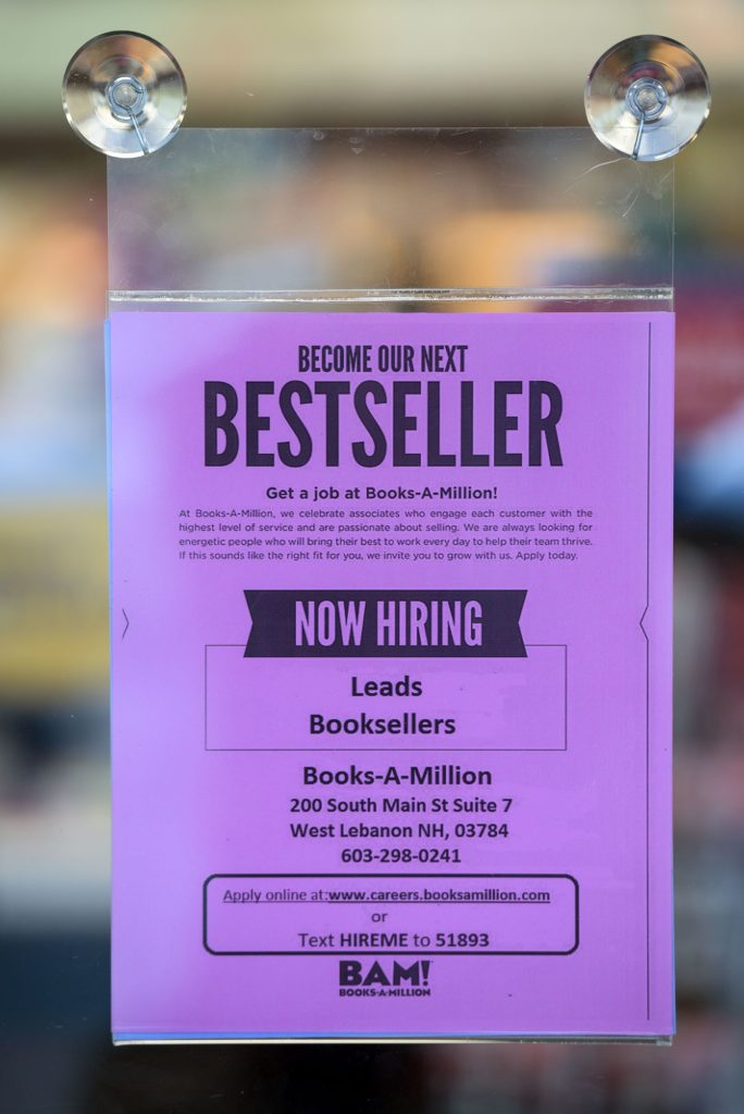 Now hiring. West Lebanon, N.H., October 1, 2018. (Valley News - James M. Patterson) Copyright Valley News. May not be reprinted or used online without permission. Send requests to permission@vnews.com.