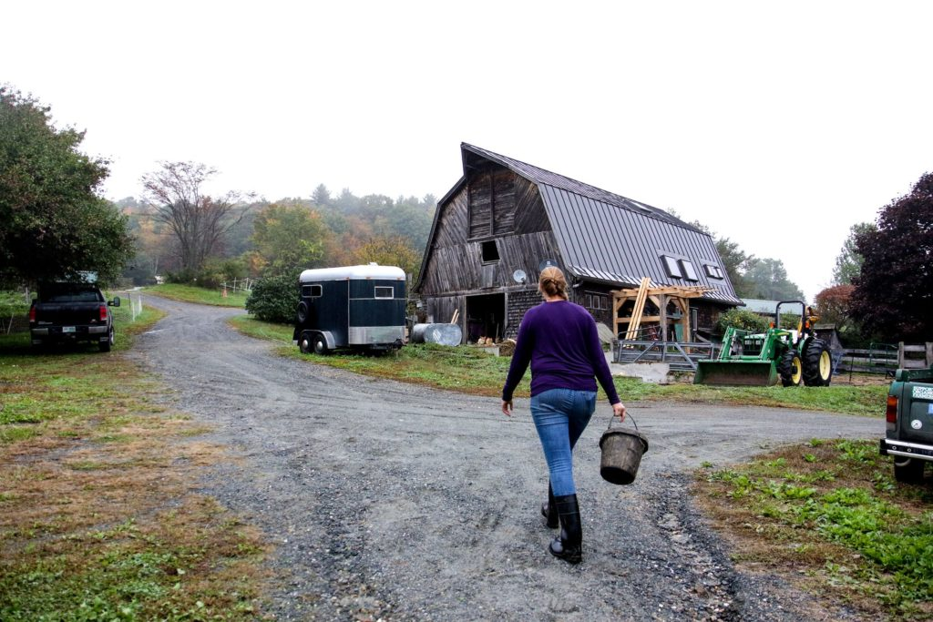 Heather Gallagher makes her way back to the barn upon completion of her morning chores at Many Summers Farm, in Cornish, N.H., on Monday, Oct. 8, 2018. (Valley News - August Frank) Copyright Valley News. May not be reprinted or used online without permission. Send requests to permission@vnews.com.