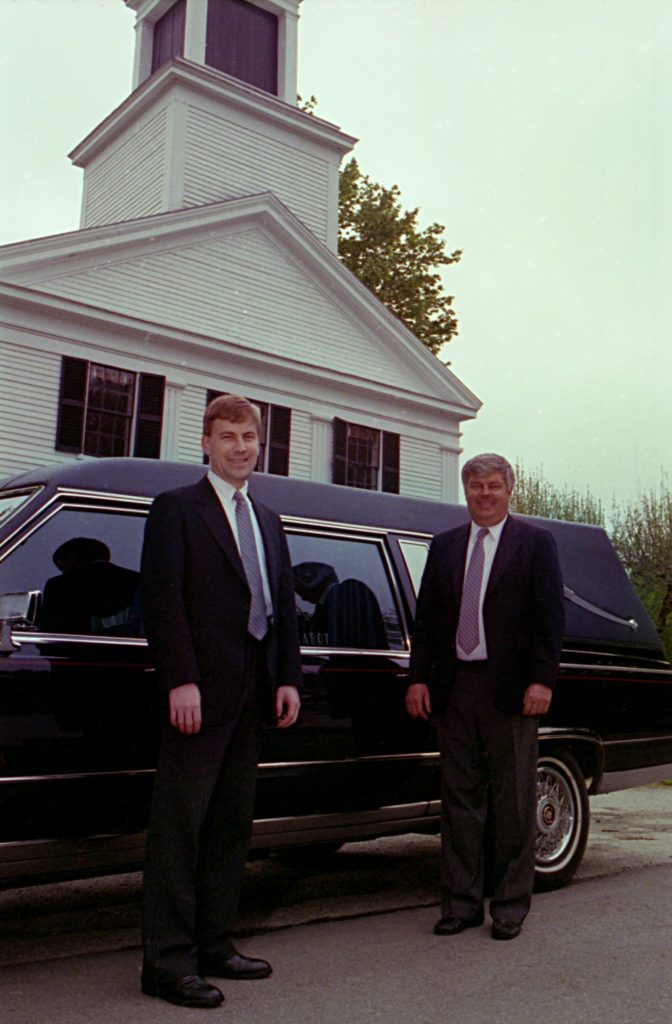Greg and Dwight Camp of Cabot Funeral Home before a service begins in Plymouth Notch, Vt., on May 20, 1993. The business was started by the late Willard Cabot, Greg's great-grandfather, in 1917. The Camps conduct about 80 funerals a year. (Valley News - Medora Hebert) Copyright Valley News. May not be reprinted or used online without permission. Send requests to permission@vnews.com.