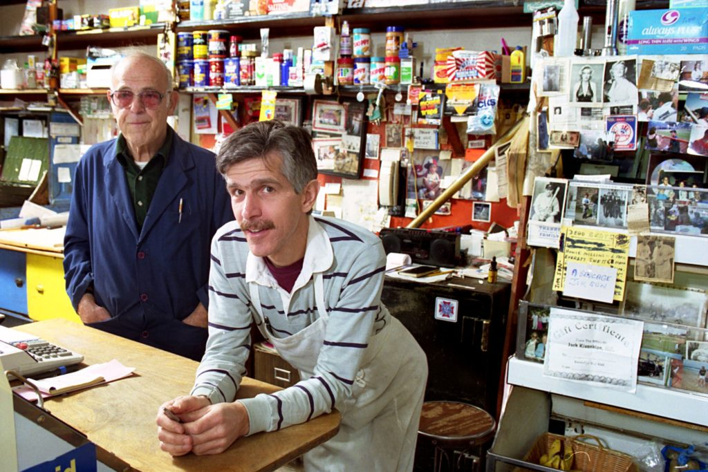 The Falzaranos, Ralph Sr. and Ralph Jr., are photographed at Progressive Market, their White River Junction, Vt., store on Oct. 25, 1993. The younger Falzarano was looking to revamp the 75-year-old market to serve Italian foods as a long-overdue tribute to the local Italian community on South Main Street. (Valley News - Medora Hebert) Copyright Valley News. May not be reprinted or used online without permission. Send requests to permission@vnews.com.
