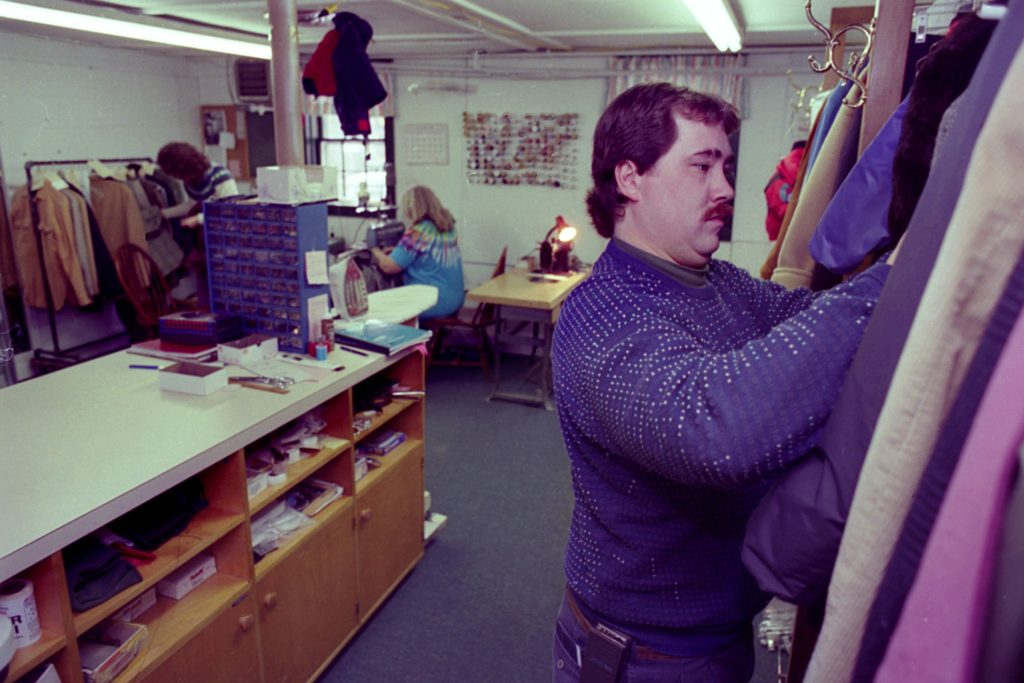 Brian Campion works in Stitches, his new tailoring shop in downtown Hanover, N.H., on Nov. 3, 1993. Campion was poised to become the fourth generation to run the family's clothing business when it closed in 1991. He started the tailoring shop with equipment and employees from the store. (Valley News - Medora Hebert) Copyright Valley News. May not be reprinted or used online without permission. Send requests to permission@vnews.com.