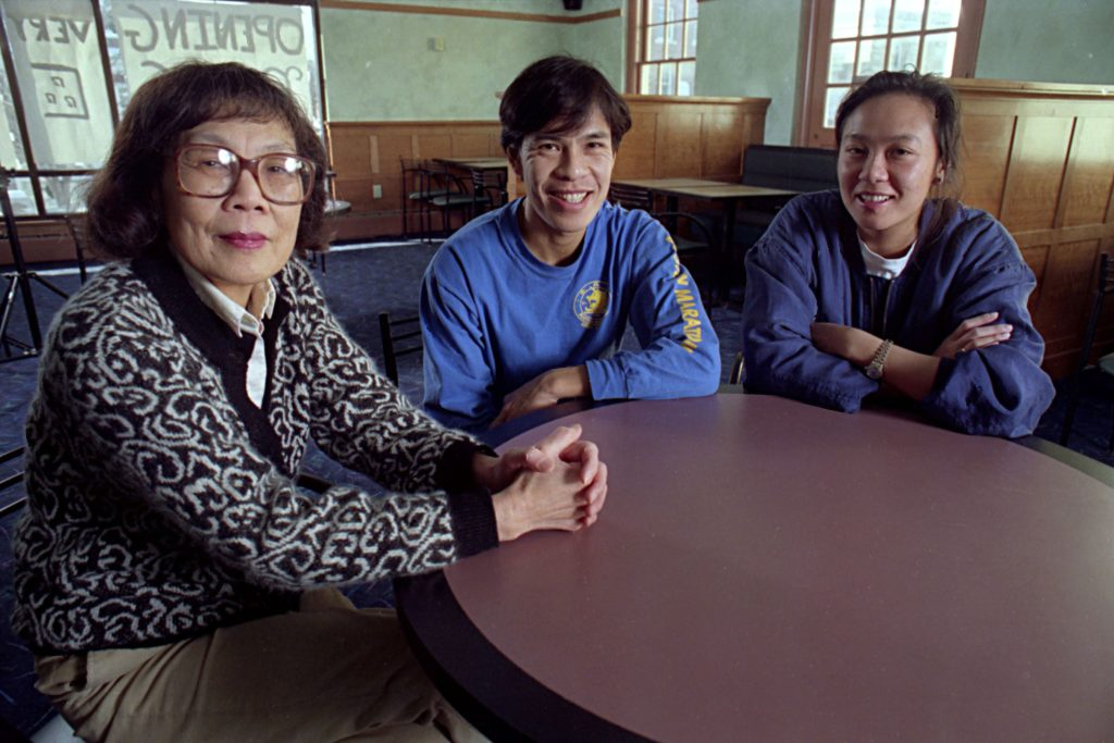 Photographed on Feb. 6, 1994, Cynthia Ou, left, opened a restaurant in Hanover, N.H., with help from two of her children, Eddy and Emily Ou. Ou had been running a Chinese restaurant in the Dartmouth Medical School cafeteria for over two decades, serving over a million lunches. (Valley News - Geoff Hansen) Copyright Valley News. May not be reprinted or used online without permission. Send requests to permission@vnews.com.