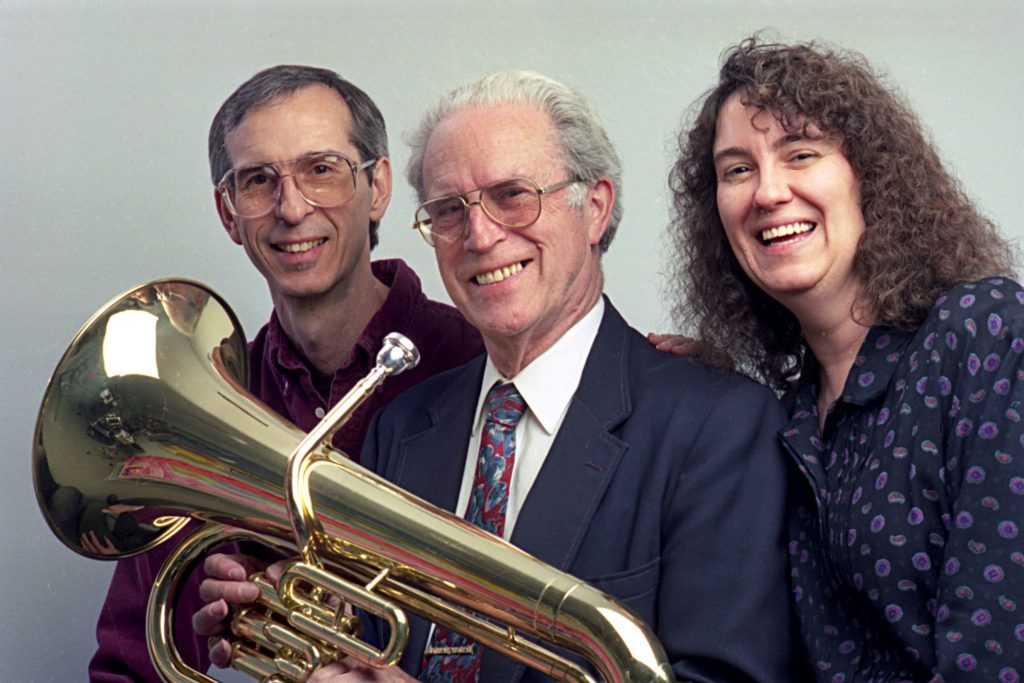 Photographed on March 7, 1994, Richard Ellis, center, started Ellis Music Co. Inc. in 1946. The company president is his son David, left, and its treasurer is his daughter, Joan Bassett. The company, located on Route 107 in Royalton, Vt., rents out more than 10,000 band instruments throughout Vermont and much of New Hampshire. (Valley News - Geoff Hansen) Copyright Valley News. May not be reprinted or used online without permission. Send requests to permission@vnews.com.