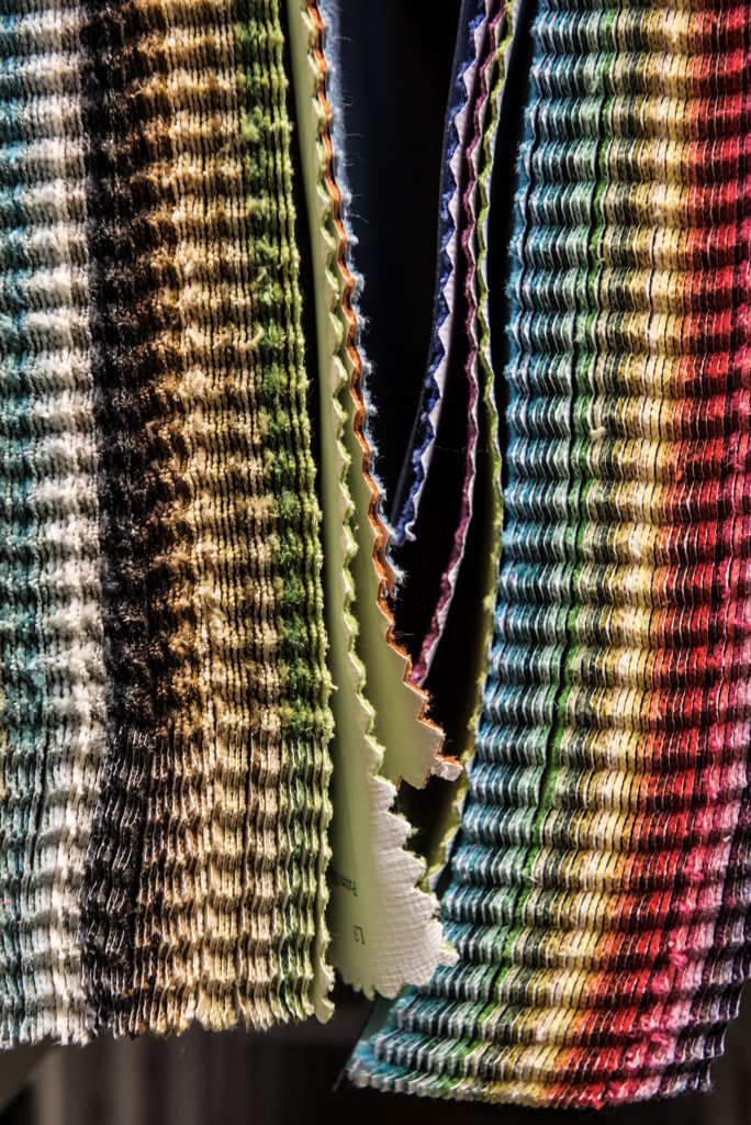 Fabric samples hang on the wall at Gilberte Interiors in Hanover, N.H., Thursday, Jan. 10, 2019. Gilberte and Antranig Boghosian started the business over 50 years ago and their children Cheryl and Aharon now co-own it. (Valley News - James M. Patterson) Copyright Valley News. May not be reprinted or used online without permission. Send requests to permission@vnews.com.