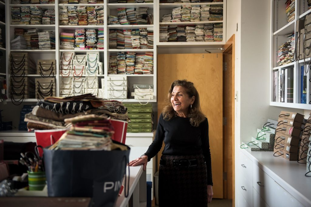 Gilberte Boghosian started a drapery and upholstery business more than 50 years ago with her husband, Antranig, and they gradually grew into doing design services and offering custom fabrics and furniture. Boghosian stood for a portrait at the Hanover, N.H., headquarters of the business on Thursday, Jan. 10, 2019. (Valley News - James M. Patterson) Copyright Valley News. May not be reprinted or used online without permission. Send requests to permission@vnews.com.