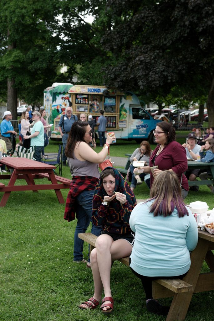 Colburn Park in Lebanon, N.H., filled with 13 mobile food vendors and hundreds of hungry patrons during the Lebanon Food Truck Festival on Friday, June 21, 2019. Funds raised from ticket sales benefit the city's park development. (Valley News - James M. Patterson) Copyright Valley News. May not be reprinted or used online without permission. Send requests to permission@vnews.com.