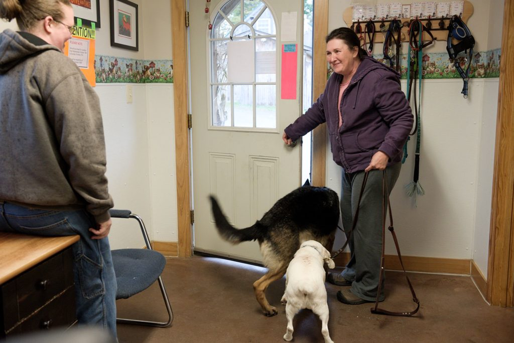 Kori Clough, left, says goodbye to Milo, a German shepherd, and Cody, a lemon beagle, as they leave Mountain View Pet Resort with their owner Christy Collins, in Canaan, N.H., Thursday, Sept., 26, 2019. (Valley News - James M. Patterson) Copyright Valley News. May not be reprinted or used online without permission. Send requests to permission@vnews.com.