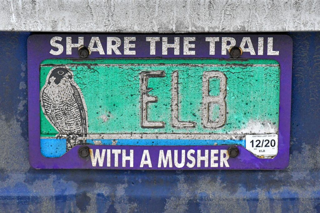 The license plate on the Braeburn Siberians company vehicle, parked in Claremont, N.H., on Sunday, Dec. 22, 2019. (Rick Russell photograph)