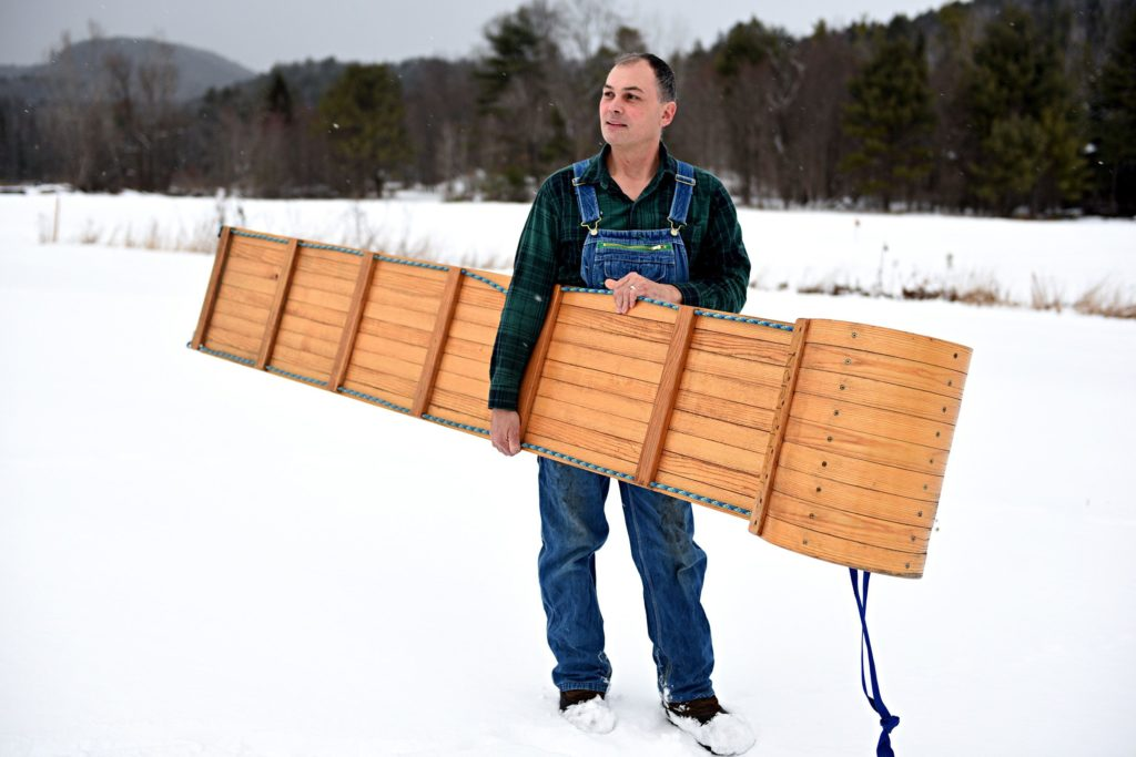 Glen Norton of Norton's Vermont Toboggans stands behind his home in West Fairlee, Vt., on Wednesday, Jan. 8, 2019. Norton started making toboggans with his father in 2011. (Valley News - Jennifer Hauck) Copyright Valley News. May not be reprinted or used online without permission. Send requests to permission@vnews.com.