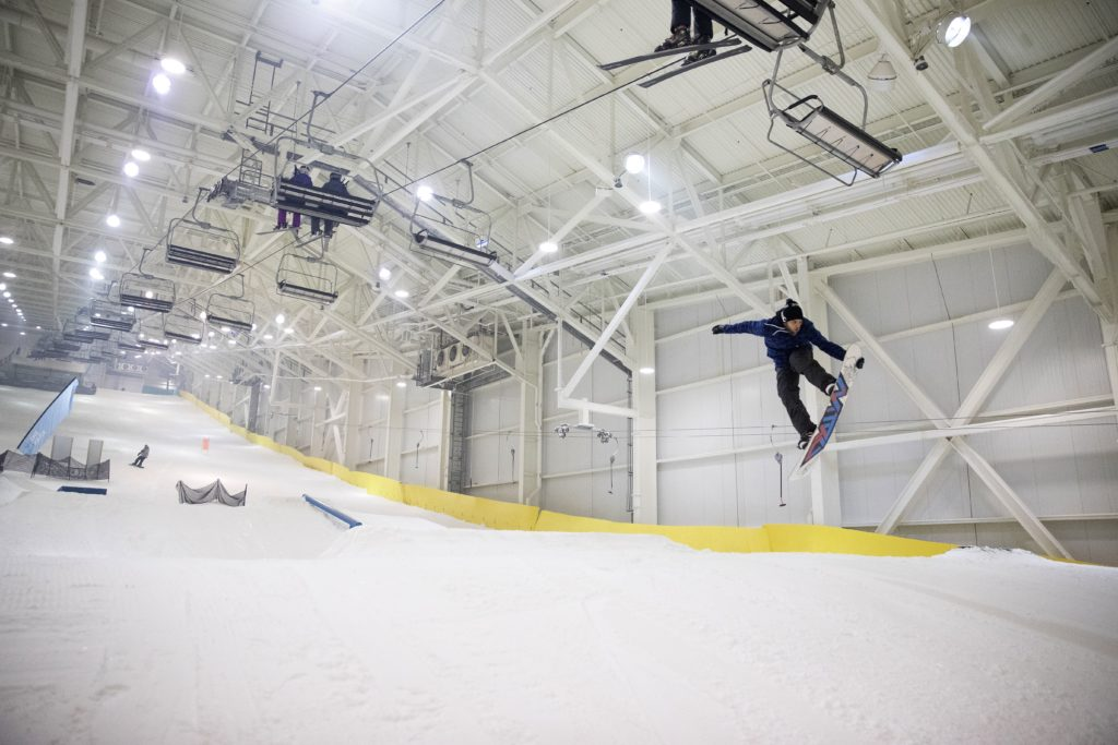 """Lou Fermonte of Northfield, N.J., almost reaches the chairlift. """"What's amazing is I get to ride here all year long,"""" Fermonte says. """"This is the future."""" MUST CREDIT: Photo for The Washington Post by Michael Owens"""