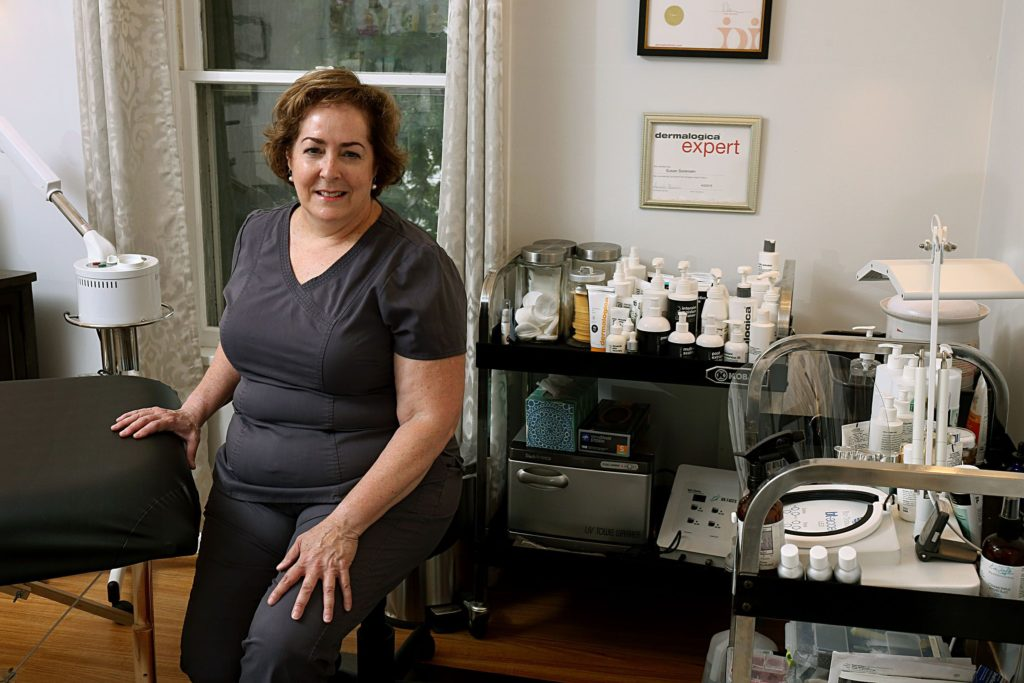 Photographed on July 8, 2020, Susan Sorensen is owner of AboutFace Skin Therapy in Lebanon, N.H. A licensed esthetician, Sorensen opened the business in 2014. (Valley News - Geoff Hansen) Copyright Valley News. May not be reprinted or used online without permission. Send requests to permission@vnews.com.