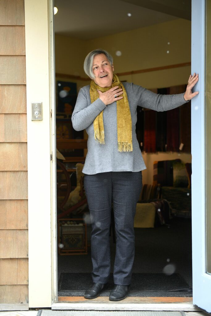Vassie Sinopoulos uses recycled fabric in her work at her studio in Woodstock, Vt., on April 2, 2021. ( Valley News - Jennifer Hauck) Copyright Valley News. May not be reprinted or used online without permission. Send requests to permission@vnews.com.